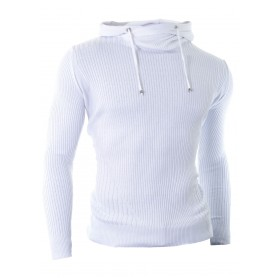 Hooded Sweater Vertical Ribbed Knit  Hoodies