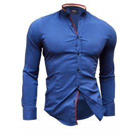 Shirt Casual Formal Stand-Up Collar Slim Fit Decorative Band