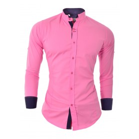 Men's Shirt Slim Fit Stand-Up Collar Roll-Up