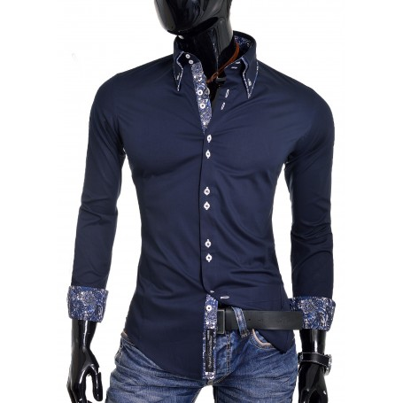 Navy Blue White Men Shirt Paisley Pattern Cuffs Slim Fit  Casual and Formal Shirts