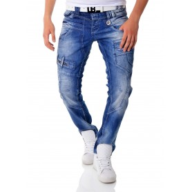 Cipo & Baxx Blue Denim Jeans Patches Metal Finish Regular Fit