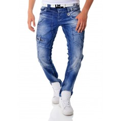 Cipo & Baxx Blue Denim Jeans Patches Metal Finish Regular Fit  Jeans and Trousers