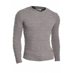 Men's Wool Jumper Knit Smart Long Sleeve Sweater Crew Neck Check Top Slim