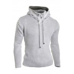 Men's Zip Neck Hooded Jumper Wool Knit Long Sleeve Sweater Striped Ribbed Warm  Sweaters and Cardigans