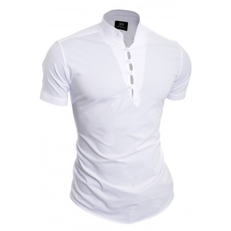 D&R Fashion Henley Grandad Collar Casual Shirt slim fit short sleeve  Casual and Formal Shirts