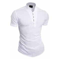 D&R Fashion Henley Grandad Collar Casual Shirt slim fit short sleeve