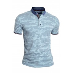 Mens Casual Polo T Shirt Vivid Colours Camo Pattern Denim Collar Cotton