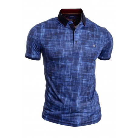 Mens Casual Polo T Shirt UK Size Cotton Blue Metal Badge  T Shirts & Polos