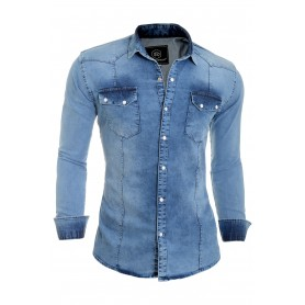 Mens shirt thick denim blue stretchy cotton slim fit washed out look  Casual and Formal Shirts
