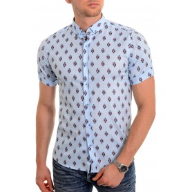 Men's casual summer shirt Soft Linen look Cotton Short Sleeve Diamond Pattern