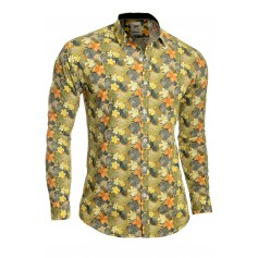 Men's Casual Dress Shirt Floral Printed 100% Cotton Slim Fit Vivid Colours  Casual and Formal Shirts