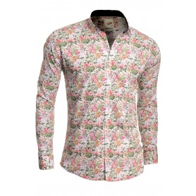 Men's Casual Dress Vivid Shirt Floral Printed 100% Cotton Slim Fit White  Casual and Formal Shirts