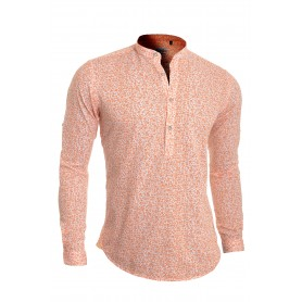 Men's Casual Grandad Shirt Henley Linen Slim Fit Long Sleeve Vivid Shamrock  Casual and Formal Shirts
