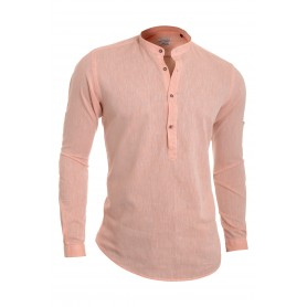 Men's Casual Henley Shirt Grandad Cotton Linen Slim Fit Long Sleeve Vivid Colour