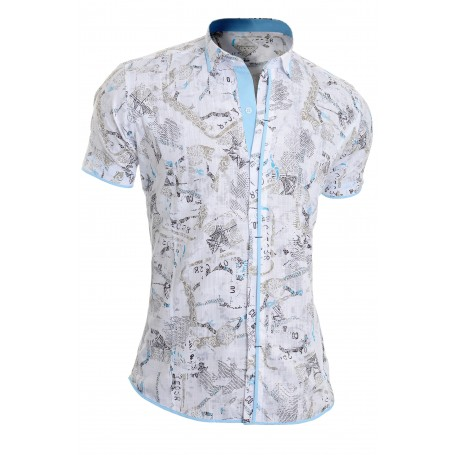 Mens Short Sleeve Shirt White Classic Collar 100% Cotton Chequered Trim Slim  Casual and Formal Shirts