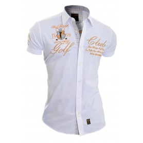Redbrige Men's Designer Embroidered Shirt Short Sleeve Classic Collar Gold Trim