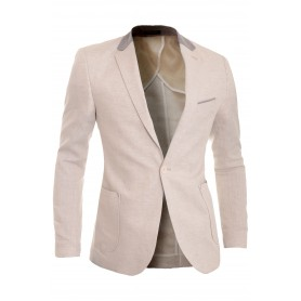 Cipo & Baxx Mens Linen Blazer Jacket Casual Formal Elbow Patches Slim Fit Summer