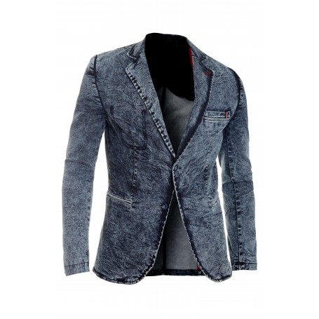 Men's Denim Blazer Jacket Dark Blue Slim Fit Marble Print Soft Cotton Vintage  Blazers