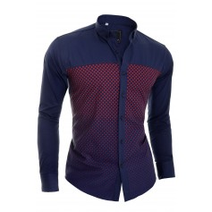 D&R Navy Blue Casual Shirt slim fit long sleeve check pattern  Casual and Formal Shirts