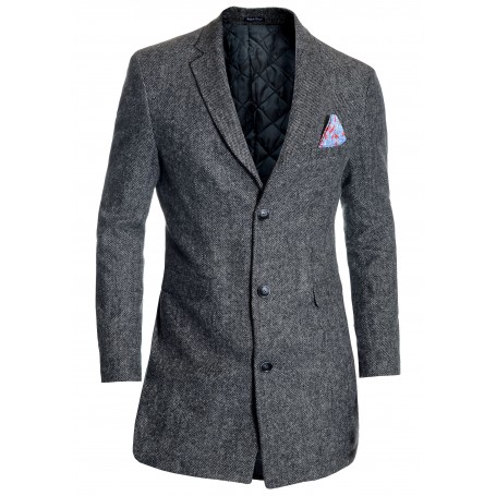 Elegant Men's Overcoat 3/4 Long Jacket Tweed Cashmere Soft Fabric Winter Autumn   Jackets and Coats