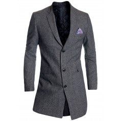 Details about  Men's Checkered Overcoat 3/4 Long Jacket Tweed Cashmere Wool Trendy Colours