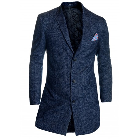 Details about Men's Checkered Overcoat 3/4 Long Jacket Tweed Cashmere Wool Trendy Colours   Jackets and Coats