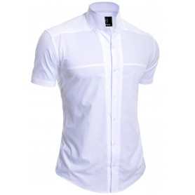 Mens Korean Collar Shirt Short Sleeve Collarless Formal Holiday Comfort Slim