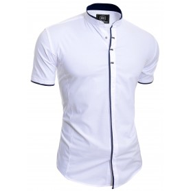 Men's Elegant Short Sleeve Shirt Smart Grandad Collar Snaps Cotton UK BRAND