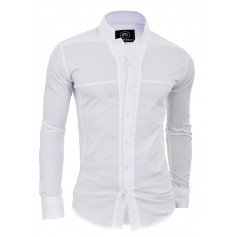 Mens Korean Collar Shirt Long Sleeve Collarless Formal Holiday Comfort Slim