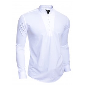Mens Henley Long Sleeve Shirt Smart Casual Grandad Collar Button Loops Holiday