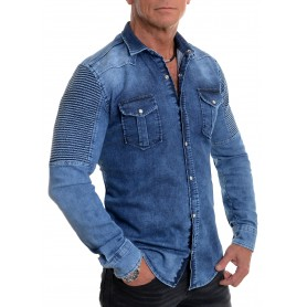 Stunning Ribbed Men's Thick Denim Shirt Blue Stretchy Cotton Slim Fit Washed Out Look