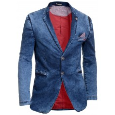 Men's Casual Denim Blazer Jacket Blue Washed Out Contrast Finish Slim Cotton