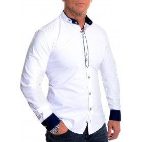 D&R Fashion Men's Casual Long Sleeve Shirt Smart Grandad Collar Cotton Slim Fit
