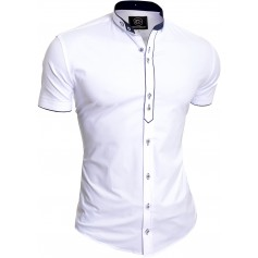 Men's Royal Blue Short Sleeve Shirt Elegant Grandad Collar Cotton White Cuffs UK