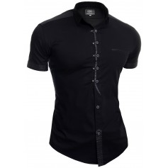 Men's Casual Short Sleeve Shirt Slim Fit Metal Studs