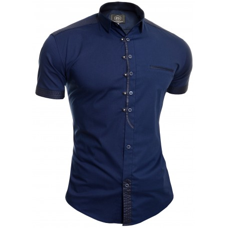Men's Casual Short Sleeve Shirt Slim Fit Metal Studs  Casual and Formal Shirts