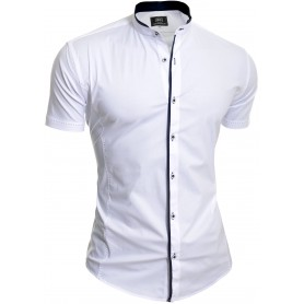 Men's Elegant Short Sleeve Shirt Smart Grandad Collar Cotton White Blue Stitching