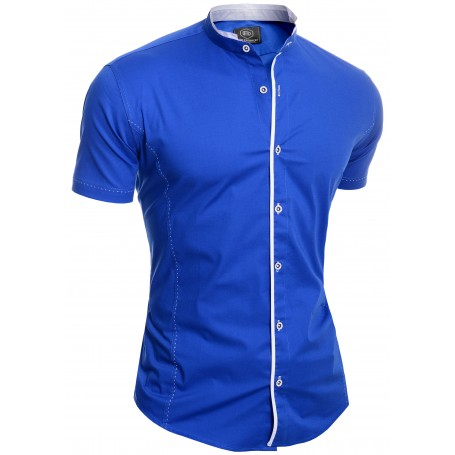 Men's Elegant Short Sleeve Shirt Smart Grandad Collar Cotton White Blue Stitching  Casual and Formal Shirts