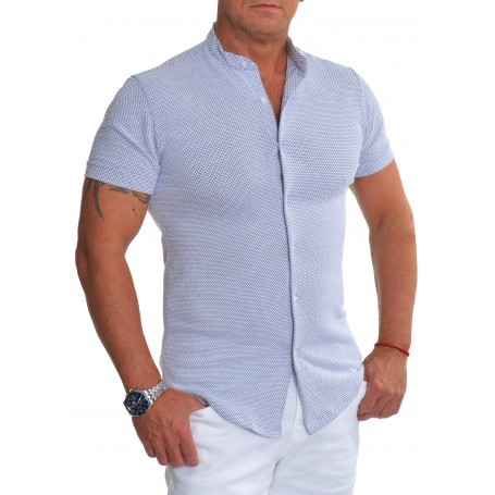 Men's Knitted Shirt Mao Grandad Collar Stretchy Cotton Black Off White UK Size  Casual and Formal Shirts