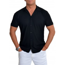 Men's Spread Collar Shirt Ecru Black Stretchy Rib Knit Striped Short Sleeve  Casual and Formal Shirts
