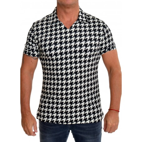 Men's Spread Collar V-Neck Shirt Houndstooth Ivory Black Stretchy Short Sleeve  Casual and Formal Shirts