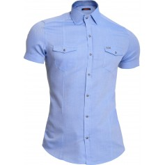 Mondo Men's Summer Shirt Short Sleeve Cotton Lilac Blue Slim Metal Badge Poppers  Casual and Formal Shirts