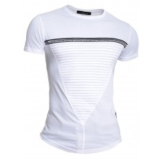 Mens Crew Neck Ribbed T-Shirt Stretchy White Black Striped Short Sleeve Slim Fit  T Shirts & Polos
