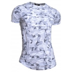 Mens Crew Neck Ribbed T-Shirt Stretchy Grey Camo Striped Short Sleeve Slim Fit  T Shirts & Polos