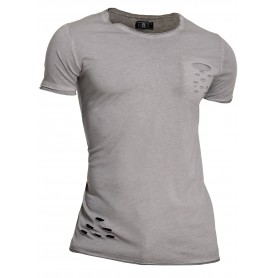 Men's Summer Polo T-Shirt Stretchy Blue Beige Distressed Short Sleeve Slim Cotton  T Shirts & Polos