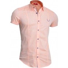 Mondo Men's Short Sleeve Shirt 100% Cotton Orange Coral Slim Fit Embroidered  Casual and Formal Shirts