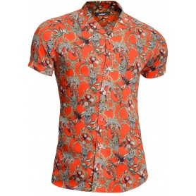Mondo Men's Short Sleeve Shirt Spread Collar Hawaiian Leopard Print Cotton Bamboo  Casual and Formal Shirts