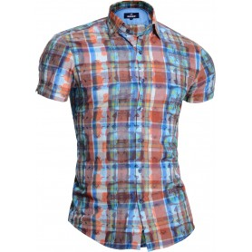 Mondo Men's Short Sleeve Shirt Brown Checkered Tie Dye Pattern Cotton Slim Fit  Casual and Formal Shirts