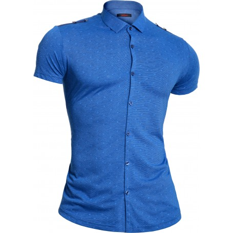 Mondo Men's Blue Shirt Short Sleeve Epaulettes with metal rings Cotton Limited  Casual and Formal Shirts
