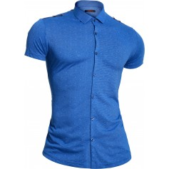 Mondo Men's Blue Shirt Short Sleeve Epaulettes with metal rings Cotton Limited
